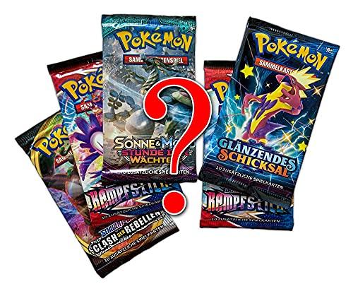 A Pokemon Mystery Set: 5 zufällige gemischte Booster Packs - insgesamt 50 Sammelkarten - DEUTSCH + Arkero-G Standard Soft Sleeves (100 Kartenhüllen)