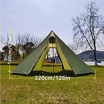 Longeek 4 Saisons Tente de Camping 2 Personnes Tente Ultralight Imperméable et Coupe-Vent pour la randonnée en Plein air Professionnelle Tente de randonnée avec Trou de cheminée Hut Tipi Chaud