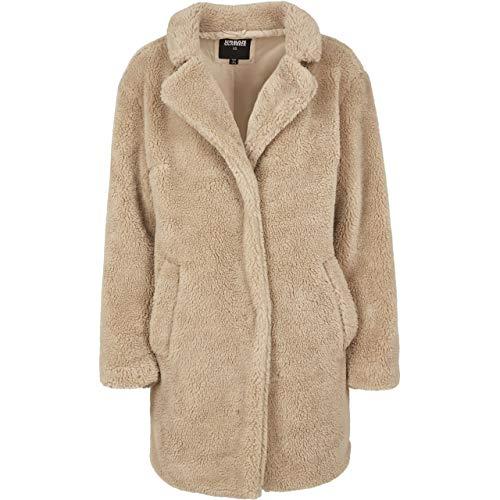Urban Classics Damen Ladies Oversized Sherpa Coat Mantel, Beige (Sand 00208), Small (Herstellergröße: S)