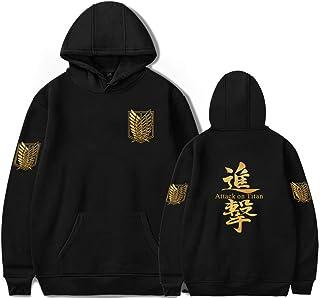 EMLAI Men's Attack on Titan Hoodie Anime Manga Survey Corps Print Fleece Hooded Sweatshirt Cosplay Jumper For Adult