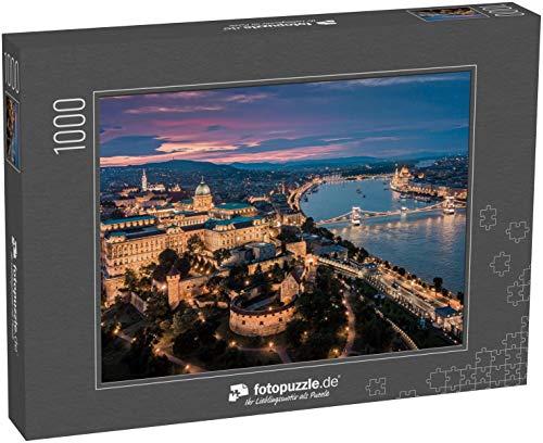 fotopuzzle.de Puzzle 1000 Teile Budapest Ungarn - Panorama-Luftaufnahme der Skyline von Budapest bei Sonnenuntergang mit dem Königspalast der Burg Buda