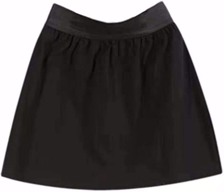 Women's Adjustable Layering Fake Top Lower Sweep Skirt Set Casual Basic Elastic High Waist Skirt Half-Length Splitting