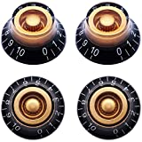 Taiss 4Pcs Amber Top Hat Bell Style Knobs Electric Guitar Bass Speed Volume Tone Control Knobs Fits 6mm/0.24' Rotary Shaft Musical Instruments And Radios Parts Replacement KNOB-S33