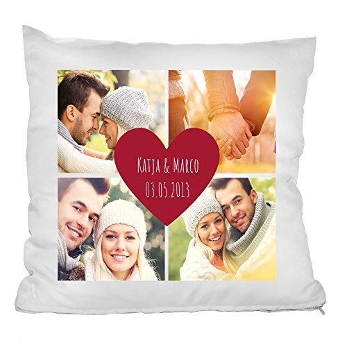 Personello® Fotokissen (40x40) mit 4 Fotos, Wunsch-Namen und Datum im Herz gestalten, Kissen mit Fotos Bedrucken, mit Füllung, Geschenk zum Jahrestag, Fotogeschenk