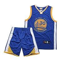 Curry カレースーツメンズ大人用バスケットボールユニフォーム-ウォリアーズウォリアーズ、夏30#バスケットボール刺繍ジャージ1セットのショーツ トップ blue-XL