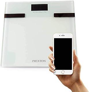 PRIXTON - Bascula de baño Digital con App para Móvil / Bluetooth / Pantalla LCD / 6 en 1: Peso, Masa Corporal, líquidos, Masa Muscular, Masa ósea y calorías - Válido para iOS y Android | BC200