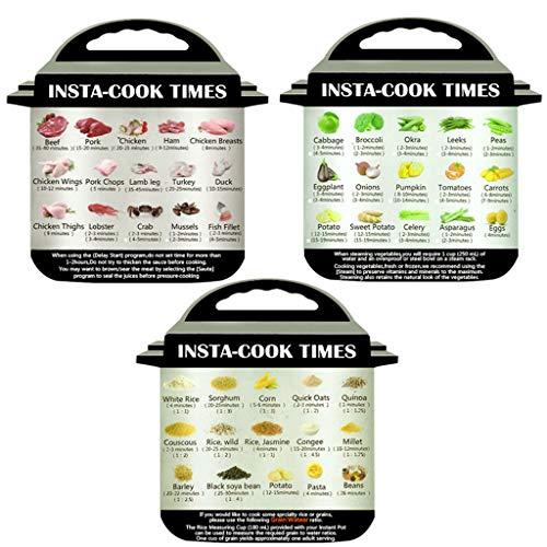 Colorful 丨 3er-Pack Magnetisches Spickzettel Kompatibel mit Instant Topf Bildern Magnet Garzeiten Zubehör für 45 allgemeine Vorbereitungsfunktionen