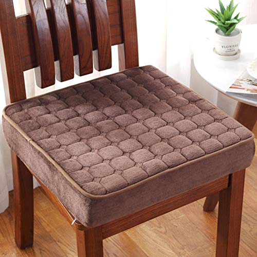 Thick Chair Seat Cushion, Quilted Micro Suede Square Sponge Pads for Wooden Dining Chairs Office Car Booster Comfort Zipper Removed-Brown 45x45x5cm
