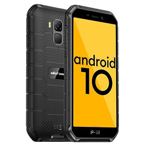 4G Rugged Phones, 2020 Ulefone Armor X7 Pro Android 10 Dual SIM, Rugged Smartphone Unlocked, IP68/69K Waterproof Smartphone, 13MP + 5MP Camera, 4GB + 32GB, NFC, OTG, Face Unlock, Finger Reader - Black