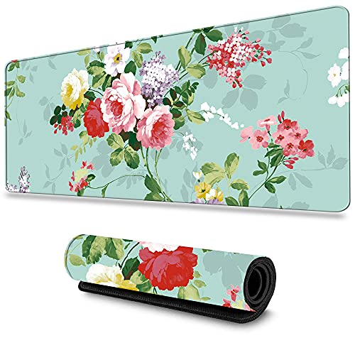 LIEBIRD Extended XXL Gaming Mouse Pad - Portable Large Desk Pad for Laptop - Non-Slip Rubber Base (Peony)