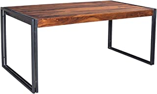 Timbergirl Hand-Crafted, 78-Inch Sheesham wood and metal dining table