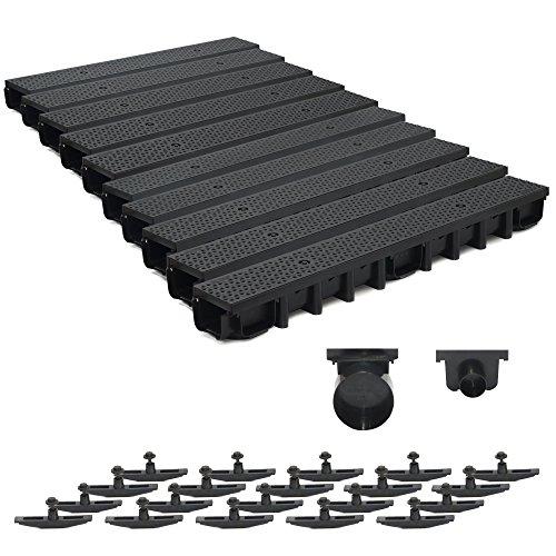 10m Entwässerungsrinne für modulares System A15 98mm, komplett Stegrost Kunststoff, Schwarz Decor