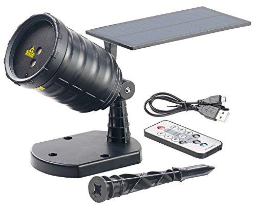 Lunartec Gartenlaser: Solar-Laser-Projektor mit Akku, Sternenregen-Lichteffekt, Timer, IP65 (LED Projektor)