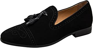 Mocassin Homme Noir Velours Broderie Vintage Gland Loafers Slip on Casual Brogue Chaussures Habillées Slippers Pantoufle