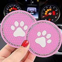 2 個多色犬の足のデザインの車のコースタードリンクブリンブリン犬の足の車のカップコースターアンチスリップシリコーン車のカップホルダーコースタークリスタル=,ピンク