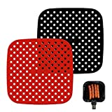 2 pezzi riutilizzabili friggitrice ad aria in silicone antiscivolo, per friggitrice ad aria, uno per rosso e nero (20,5 pollici)