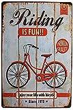 Riding Is Fun Enjoy Your Life with Bicycle - Cartel de chapa vintage, cartel de pared, decoración de metal, cartel para puerta