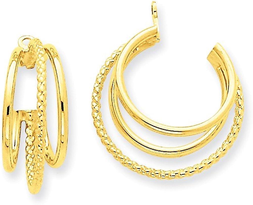 Genuine 14k Yellow Gold Polished & Twisted Triple Hoop Earring Jackets 19x8mm