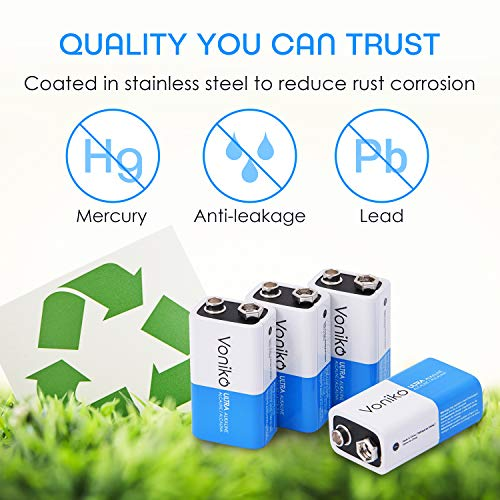 VONIKO 9V Batteries - Alkaline 9V Battery 4 Pack - Ultra Long Lasting with a 7 Year Shelf Life