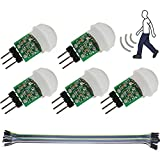 DAOKI 5Pcs IR Human Sensor AM312 Mini Detector Module HC-SR312 Pyroelectric Infrared PIR Motion Automatic Detector DC 2.7 to 12V for Arduino 2 A1U2 with Dupont Wire