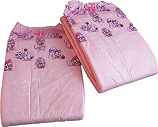 2 Diapers - DC Amor - All Pink Theme! Plastic-Backed Adult Baby (No Scent, Small)
