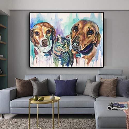 Leinwand Malerei Aquarell Tier Poster und Drucke Hunde Katze Wandbild Wohnzimmer Home Decoration No Frame