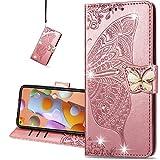 COTDINFORCA case for Huawei Honor 9X Lite Hülle,Diamant Kristall Schutzhülle Magnet Handytasche Kartenfächer Lederhülle Flip Handyhüllen für Huawei Honor 9X Lite Cover Diamond Butterfly Rose Gold SD