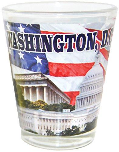 Washington D.C. Famous Capitol Buildings Design Souvenir Shot Glass- Featuring American Flag