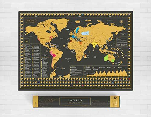 Scratch Map of the World – XLarge (A1 formaat 84,1 cm x 59,4 cm) Mooie luxe poster kaart – Perfect reiscadeau