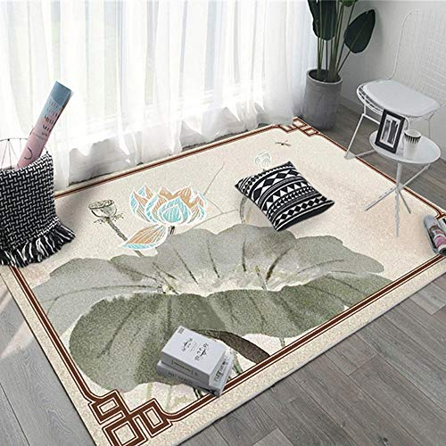 RUGMRZ Play Rug Brown lotus leaf lotus pattern salon rug is stain resistant and durable Large Carpet Easy To Clean minimalist Home Decor Carpets Brown 140X200CM