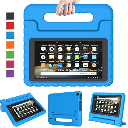 LTROP Case for Amazon Fire 7 Kindle Kids Case 2019 - Light Weight Shock Proof Convertible Handle Stand, Corner Protection, Kids Case for All-New Fire 7 Tablet (9th Generation, 2019 Release) - Blue