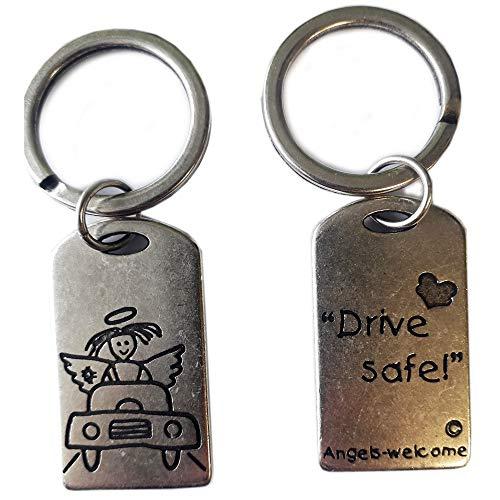 Schlüsselanhänger am Ring versilbert, Drive Safe, in schönen Organzabeutel. Schlüsselbund Schlüsselring