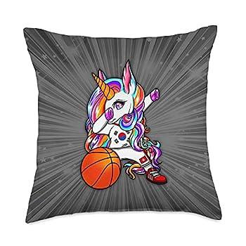 Teeisle South Korea Basketball Dab Unicorn South Korea Basketball Fans Jersey Korean Flag Throw Pillow 18x18 Multicolor