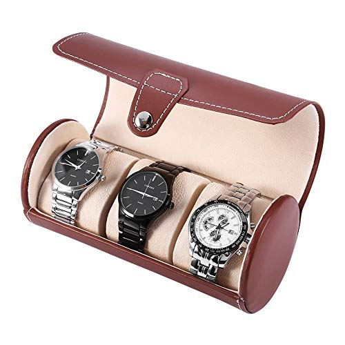 Caja de relojes, caja redonda para relojes, de piel sintética, expositor, caja de relojes, 3 rejillas cilíndricas, cierre de metal, estuche de almacenamiento para riel para regalo de viaje (marrón)