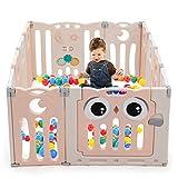 COSTWAY Box Recinto per Bambini con 12 Panelli, Barriera di Sicurezza Centro Attività per Interno e Esterno, in HDPE (Rosa)