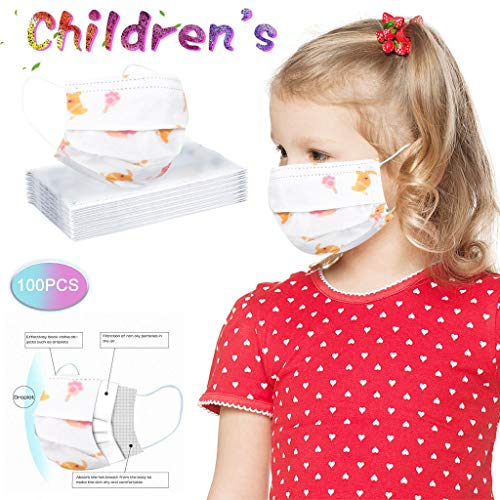 Best Price luoyaob100PC Children's Cartoon Print Color Breathable Washable Reusable Soft Elastic dus...
