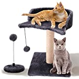 Cat Scratching Post for Kitty, with Natural Sisal Scratchers Post, Plush Platform and Hanging Toy Balls, Kittens & Cat Interactive Toys