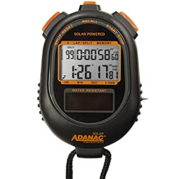 Marathon Adanac Dual Power Solar Stopwatch Timer | Lap and Split Recall Memory Display | Water Dust and Shock Resistant | for Teachers Fitness Sport Coaches
