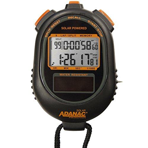 Marathon Adanac - Timer con cronometro a energia solare, con display a memoria a doppia potenza, impermeabile, resistente alla polvere e agli urti, per insegnanti fitness e allenatori sportivi