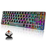 Mechanical Gaming Keyboard 18 Chroma RGB Backlit Keyboard with Type C Brown Switches Mini 68 Keys Anti-ghosting Wired Gaming Keyboard for PC/Mac Gamer, Typist(Black)