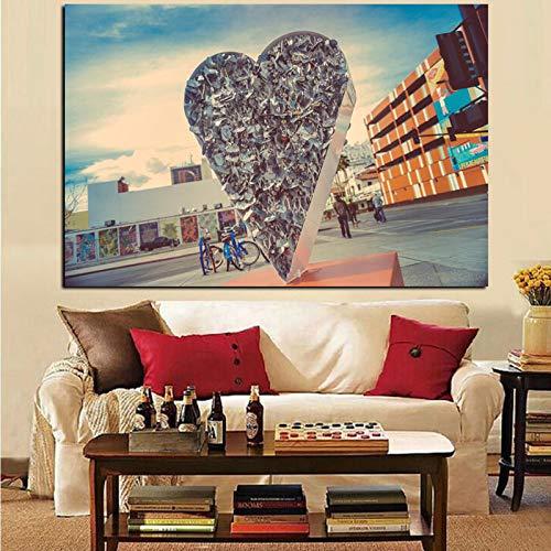 Wandkunst Liebesschloss Abstrakte Malerei Wandbild Malerei Bild Kunst Poster für Wohnzimmer Dekor Rahmenlos A 50x70cm