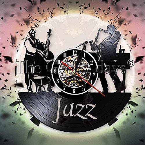 TIANZly Jazz Band Schallplatte Wanduhr Klassisches Jazz Musikinstrument Home Decor Saxophon Wanduhr Jazz Musikliebhaber Geschenk
