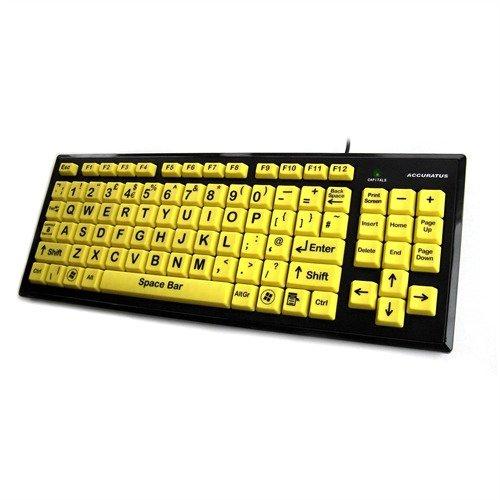 accuratus KYB-MON2VIS-UCUH - een Accuratus product. Het USB upper case Hi-Vis Monster toetsenbord heeft een Black on Yellow HiVis dubbel formaat (24mm x 24mm) toetsen; ideaal voor de gedeeltelijke slechtziende. Inclusief geïntegreerde