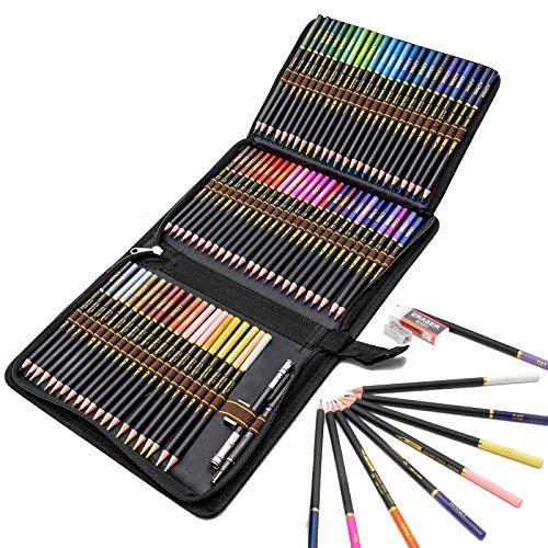 Lápices de Colores profesionales para adultos y niños, Juego de 72 Lapices Colores con colores vibrantes, incluye lápices para colorear, sacapuntas y estuche lapices
