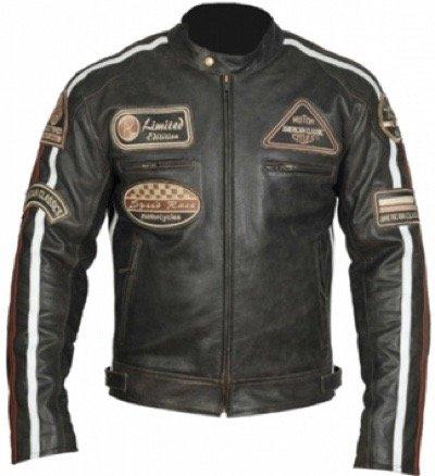 Herren Lederjacke, Motorrad Lederjacke, Bikerjacke, Rind Leder, (4XL) - 4