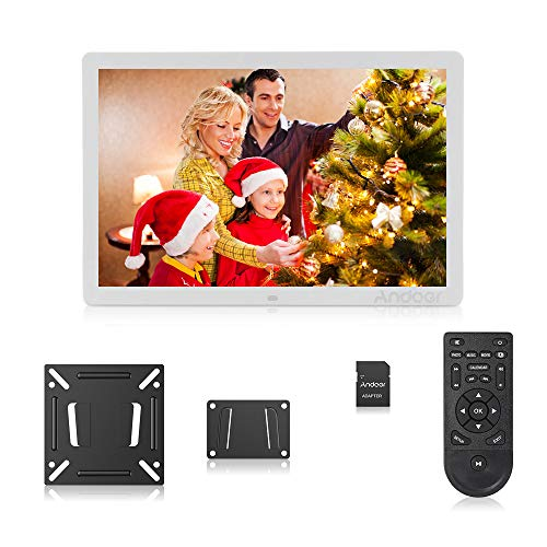 Andoer Digital Photo Picture Frame 17 Inch LED Digital Frame High-Resolution Digital Photo Album 1080P with Remote Control(White)