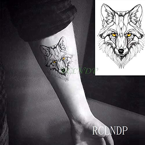 Handaxian 3 piezasPegatina de Tatuaje a Prueba de Agua Body Fox Wolf Dog Chasing Dream Tattoo Sticker Boy Girl Female