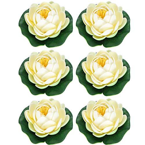 Cikonielf 6 Stück künstlichen Teichpflanzen Lotus Lilien Schwimmende Blumen Künstliche Seerosen Lotusblüte für Aquarium Terrasse Garten Pool Garten Teich
