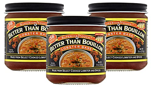 Better Than Bouillon Superior Touch Lobster Base, Made from Select Cooked Lobster & Spices, Makes 9.5 Quarts of Broth, 38 Servings, 8-Ounce Jar (Pack of 3)