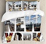 HSBZLH Funda De Edredón 90X200 Juego Funda Nórdica New York, Collage La Ciudad con Diferentes Áreas, Big Apple Manhattan, Juego Cama Decorativo 3 Piezas, 2 Fundas Almohada, Blanco, Azul